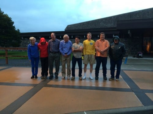 The Sitka Assembly prepares to be doused in the Ice Bucket Challenge (KCAW photo/Rachel Waldholz)