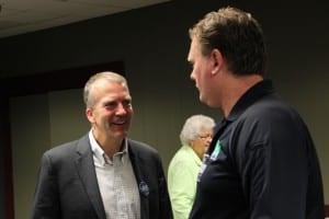 Former Alaska Attorney General Dan Sullivan spoke at the Sitka Chamber of Commerce on a campaign swing through town on September 5, 2014. (KCAW photo/Rachel Waldholz)