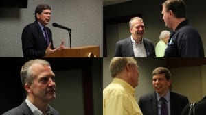 U.S. Senator Mark Begich and his challenger, Republican Dan Sullivan, each spoke to the Sitka Chamber of Commerce last week. (Rachel Waldholz/KCAW News)