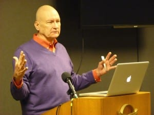 Tourism consultant John Kelsh of Great Destination Strategies discusses community branding at a Greater Sitka Chamber of Commerce luncheon on Wednesday, Oct. 22, 2014. (Ed Schoenfeld, CoastAlaska News)