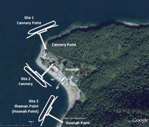 This image from the 2012 Hoonah Berthing Facility Site Alternative Analysis Report shows three possible dock locations. (Courtesy PND Engineers)