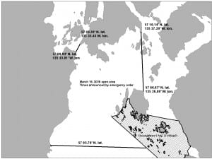 The Alaska Department of Fish & Game opened waters north and west of Middle and Crow Islands during the second 2015 herring opener. (Map courtesy of ADF&G)