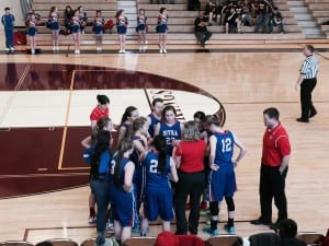 The Sitka Lady Wolves take a timeout during Region V Tournament play in Ketchikan (KCAW photo/Ingrid Olney-Miller)