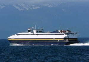 The fast ferry Fairweather sails Chatham Strait, between Admiralty and Chichagof islands in 2010. One of its four new engines broke March 7 while sailing Prince William Sound. (Ed Schoenfeld/CoastAlaska News)