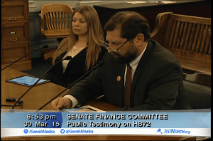 Jennifer Robinson, of the Sitka Chamber of Commerce and School Board, testified before the Senate Finance Committee along with School Board President Lon Garrison. (Photo courtesy of Gavel to Gavel)