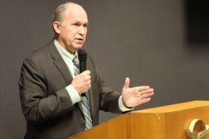 Governor Bill Walker addresses the Sitka Chamber of Commerce, April 3, 2015. (Emily Kwong/KCAW)