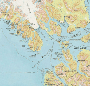 A map identifying Gull Cove, on the north end of Chichagof Island, as shown on the Gull Cove Lodge website.