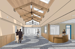 A rendering of what the new lobby would look like after the renovation of Harrigan Centennial Hall. (Image courtesy of McCool Carlson Green)
