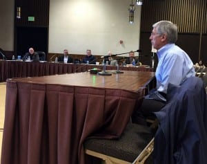 "Lt. Gov. Byron Mallott speaks to the NPFMC on Wednesday in Sitka. Mallott told council members to ""try to find ways to reach common ground -- or water."" (State of Alaska photo/Barbara Blake)"