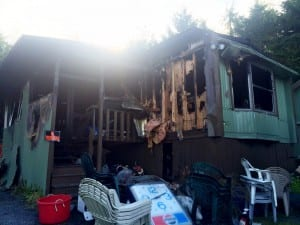 The home at 2026-D Halibut Point Road was completely destroyed in Saturday's fire. (Rebecca LaGuire/KCAW)
