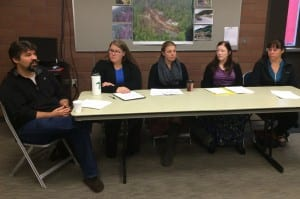 From left, John Raasch, of Youth Advocates of Sitka; Marita Bailey, Amy Zanuzoski and Carol Berge, of Sitka Counseling and Prevention Services; and Parcae Soule, of SEARHC, spoke about counseling resources available to Sitkans. (Rachel Waldholz, KCAW)