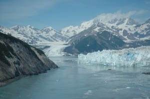 Two glaciers flow into Yakutat Bay. Glacial calving causes regular, but small, earthquakes. The Hubbard Glacier, right, sometimes surges, blocking off an arm of the bay. (Photo courtesy Wrangell-St. Elias National Park and Preserve)