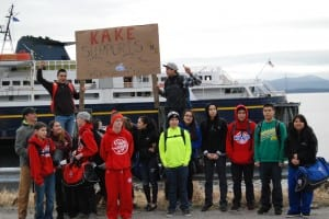 Students protest cuts in the marine highway system budget at the Kake ferry terminal last March. (Photo courtesy Adam Davis/Sustainable Southeast Partnership)