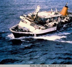 October 4th marked the 35th anniversary of the sinking of the Prinsendam. The cruise ship  was abandoned 200 miles off the coast of Sitka due to fire. Over 500 passengers and crew were rescued. (Photo courtesy of the Alaska State Library)