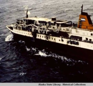 The liner was sailing through the Gulf of Alaska, approximately 120 miles south of Yakutat, Alaska, at midnight on October 4, 1980, when a fire broke out in the engine room.  After all passengers and crew were rescued, the vessel sank a week later. (Photo courtesy of the Alaska State Library)