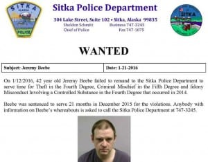 Police are looking for Jeremy Beebe, age 42, after he failed to report to the Sitka jail to serve a 21-month sentence. (Photo courtesy of SPD)