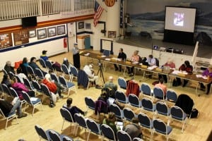 The Sitka School Board at ANB Founders Hall Monday night (3-14-16). ANB/ANS members asked for more frequent reports from the Sitka Native Education Program (SNEP), and suggested that the school board consider holding a second meeting each year in the Native community. (KCAW photo/Robert Woolsey)