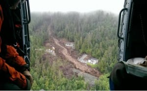The South Kramer landslide tore through the Benchlands subdivision, claiming the lives of three men and destroying property. (Credit: US Coast Guard)