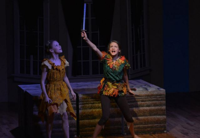 Addie Poulson (l.) and Esther Burdick appear in YPT's 2015 performance of 'Peter Pan.' (SFAC photo)