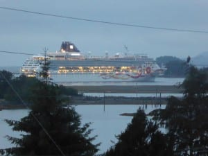 The Norwegian Sun at anchor in Sitka Thursday evening. (KCAW photo/Rich McClear)