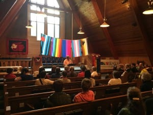 Artist Ricky Tagaban organized a Two Spirit Pride Reception to begin Juneau's pride week, held on June 11th. Speakers included Freda Westman, former Alaska Native Sisterhood Grand Camp President. The next day was the Orlando shooting. (Emily Kwong/KCAW photo)