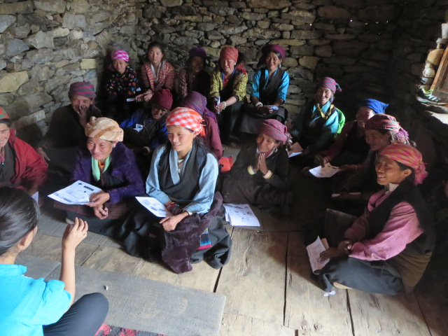 Women from the Upper Tsum Valley gather for a class on childbirth and recovery offered by one of Frazin's team. (Tsum Valley Medical Mission photo)