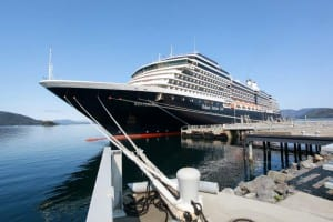 All Holland America ships this summer have been anchoring at the Old Sitka Dock and this ease of transport is one of the reasons the company is bringing another ship to Sitka next summer. (Photo courtesy of Chris McGraw)