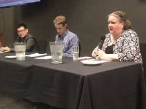 Candidates Ben Miyasato (left), Matt Hunter (center), and Mary Magnuson (right) fielded questions from chamber members for 90 minutes. (KCAW photo/Robert Woolsey)