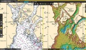 A standard NOAA chart (l.) and one of ALFA's bathymetric maps. (ALFA image)