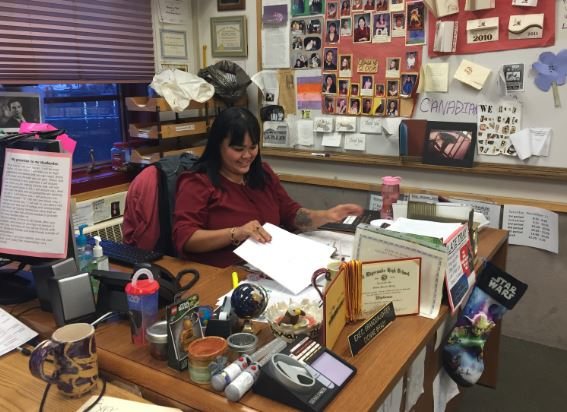 Dionne Brady-Howard in her classroom at Mt. Edgecumbe High School in 2015.
