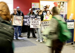 Protestors on hand as CG admiral arrives in Sitka