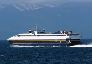 The fast ferry Fairweather sails near Angoon in Chatham Strait in 2010. (Photo by Ed Schoenfeld, CoastAlaska News)