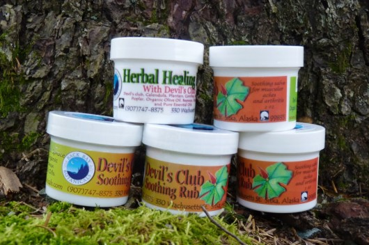 • Back Bay Botanicals products include devil's club soothing rub and healing ointment.