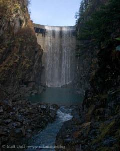 Blue Lake dam spills into the plunge pool in 2004. (Matt Goff photo/www.sitkanature.org)