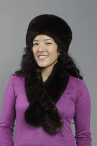 Crystal Worl models an otter hat and scarf. Image courtesy Sealaska Heritage Institute.