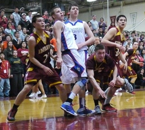 The Mt. Edgecumbe Braves and Sitka Wolves in 2nd Round action Wednesday. (KCAW Photo/Robert Woolsey)