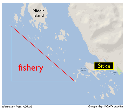 This is the approximate area of the fishery. For official boundaries, please consult the Alaska Dept. of Fish & Game.