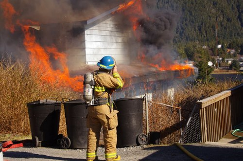 Sitka firefighter Parker White was one of 18 firefighters to respond to Saturday's fire in the 400 block of Hemlock Street. (Photo by Roberta White/Sitka Fire Department)