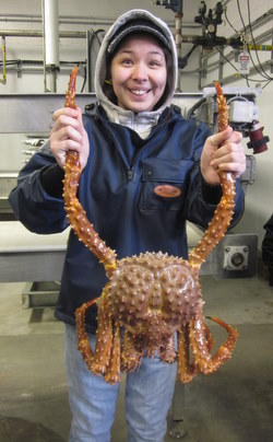 Paulette James, during a tour of Silver Bay Seafoods in March. (PHS photo by Hillary Seeland)
