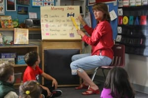 Kindergarten teacher Linda Fredrickson talks to students on Sept. 6, 2012. The union that represents 116 Sitka teachers reached an agreement Tuesday for a new three-year contract. (KCAW photo/Ed Ronco)