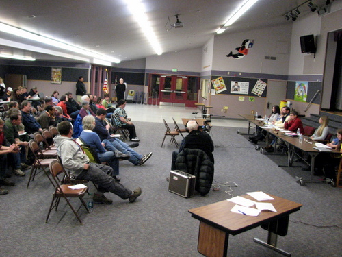 About fifty Sitkans attended the board's final budget hearing Monday night. (KCAW photo/Robert Woolsey)
