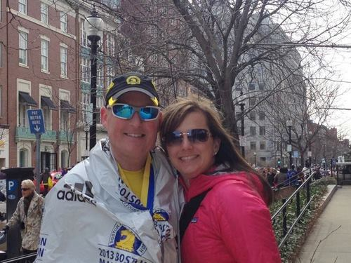 Brent and Karin Cunningham pose for a picture after the finish of the Boston Marathon today (Monday, April 15). Brent finished the race about a half-hour before explosions that killed two and injured scores of others. (Photo provided)