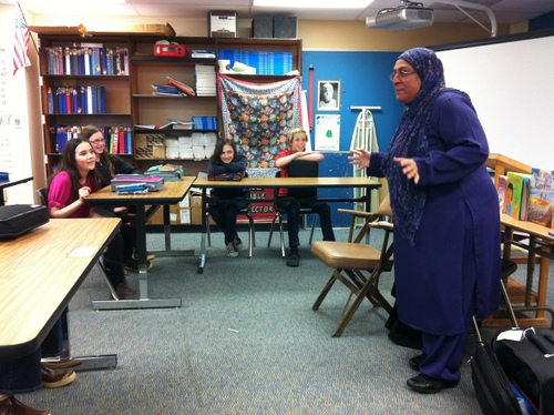 Rukhsana Khan talks to sixth graders at Blatchley Middle School on April 2. Khan is an award-winning children's author. She was born in Pakistan and now lives in Toronto. (KCAW photo by Ed Ronco)