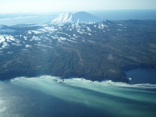 This photo shot Thursday (4-4-13) shows herring spawn in Shelikof Bay, on Kruzof Island. Mt. Edgecumbe looms behind. (Photo by ADF&G)