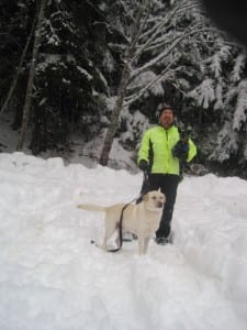 Bernie, Olive & Chai on a winter hike.