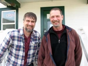 Stuart Reid (l.) with the Food Co-op Initiative, and  local board chair Keith Nyitray.
