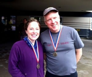 KCAW's Anne Brice and Robert Woolsey following the tri.