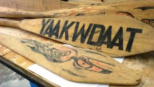 Some of the once-lost Yakutat cedar canoe paddles site on a workbench in the town's high school shop.