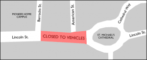 CLICK TO ENLARGE: A map of the closure area.