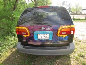 Wren's sister painted the back of her car.